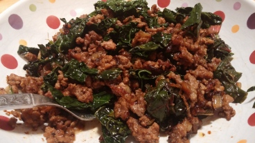 Perfect Paleo Dinner: Seasoned ground beef chuck, caramelized onion, garlic, kale and chard.